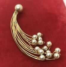 Vintage Brooch Pin Gold Tone Faux Pearls
