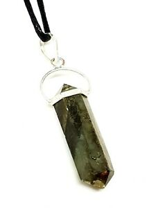 Natural Grey Labradorite Pendant on Cord Necklace Jewellry Reiki Charged