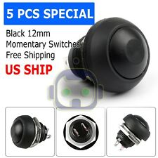 5X Black M4 12mm Waterproof Momentary ON/OFF Push Button Round SPST Switch