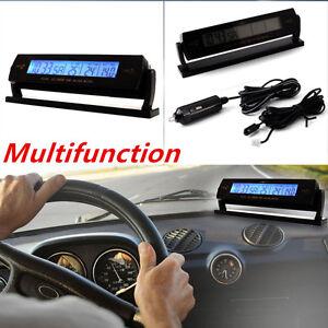 Car Auto Temperature Voltage Clock Digital LCD Thermometer Meter Monitor Alarm