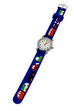 Soft Silicone Unisex Cars & Bus Theme Watch Silver Multicoloured Number Dial