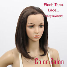HAND TIED Synthetic Hair LACE FRONT FULL WIGS GLUELESS BOB Medium Brown 93#4A(F)