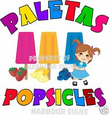 "Paletas Popsicles Popsicle Fruit Concession Cart Food Truck Van Decal 14"" Menu"