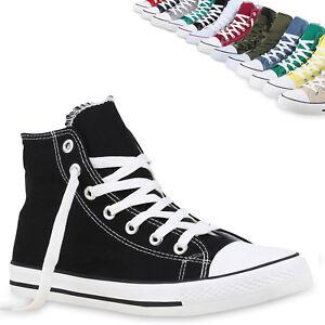 Herren Damen High Sneakers Stoffschuhe Sportschuhe Kult Schnürer 811382 Mode