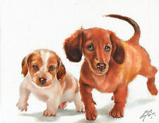 Original Oil Art DACHSHUND MINIATURE Portrait Painting DOG Artist Signed TAN