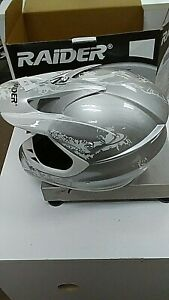 Raider Adult Large DOT Adrenaline MX Helmet Silver  NIB w/tags Free Shipping
