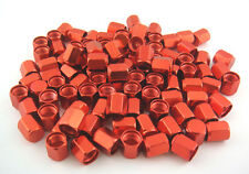 FREE SHIPPING 100PCS. RED ALUMINUM TIRE TYRE AIR DUST VALVE STEM HEX CAPS.