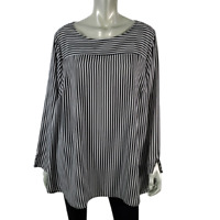 Lane Bryant Womens Top Plus Size 20 Crew Neck Striped Long Sleeve Pullover Black