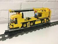LEGO® CUSTOM 9V TRAIN HEAVY DUTY WAGON WITH MOBILE CRANE - 15 INCH LONG -