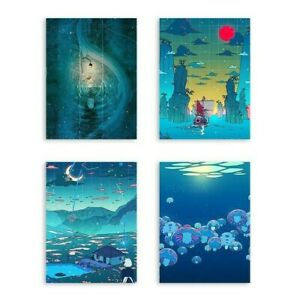 Cartoon Night Nature View Canvas Wall Art Poster For Home Living Bed Room Decor
