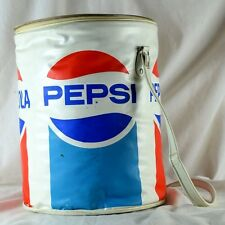 1960's-70's Pepsi Cola Tin Can Shaped Hard Plastic & Vinyl Nappy Cooler w/ Strap