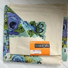 Vintage Belgium Linen Blue Floral Handprinted Tablecloth Flanders Spun 36 x 36