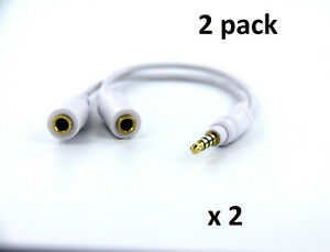 4 Pole Gold Plated 3.5mm Male to Dual 2 Female Stereo Audio Y Splitter Cable 2PK