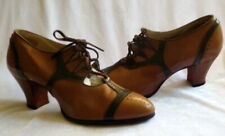 Vintage 1920s Brown Leather Lace Up Shoes Heels Size 5 Art Deco