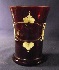Bohemian glass vase ruby gold white enameled floral Zum Lindenlion inscribed B5