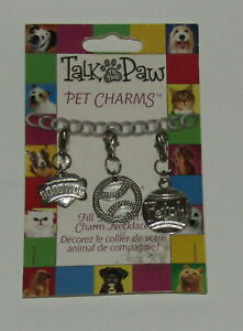 Dog Charms New Set of 3 Good Dog Fetch Ball Silver Tone Clip On Collar