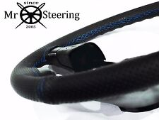 FOR VW UP 11-15 PERFORATED LEATHER STEERING WHEEL COVER LIGHT BLUE DOUBLE STITCH