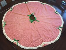 Vintage Holiday Helpers Gingham Red White Check Christmas Tree Skirt 40�