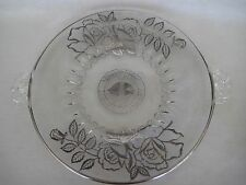 "Vintage 25th Anniversary Crystal W/ Sterling Silver Overlay Plate Tray, 13"" D"