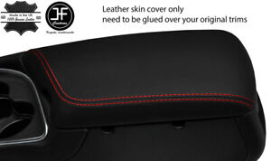 RED STITCH NAPPA SMOOTH REAL LEATHER ARMREST COVER FOR DODGE CHALLENGER 15-19