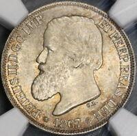 1867 NGC MS 65  BRAZIL Silver 200 Reis Golden Tone Coin (18040301D)