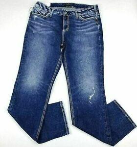 Silver Jeans Womens Elyse Straight Mid Rise Curvy Medium Wash Stretch 12 New