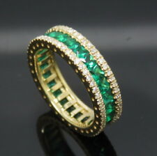 Solid 18K Yellow Gold Genuine Natura lDiamonds Green Emerald Engagement Ring