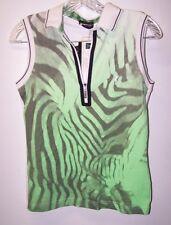 Golfino Sleeveless Half Zip UV Womens Golf Shirt Green White XS 4 NEW w tag $129