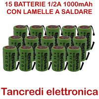 15x BATTERIA Ni-Mh formato 1/2 A 2/3 AF 1.2 V 1000mAh terminali a saldare tabs