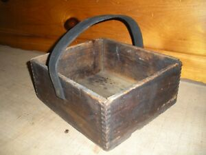 Vintage Wooden Gold Metal Baking Powder Box / Carry Tote / Dorchester, Mass
