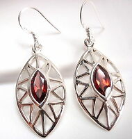 Faceted Garnet Marquise Earrings 925 Sterling Silver Dangle Drop New