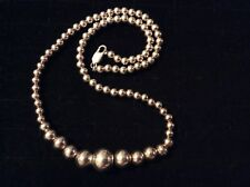 """Vintage Sterling Silver Sleek Ball Bead Chain Necklace 18"""" Made In Italy 29g"""