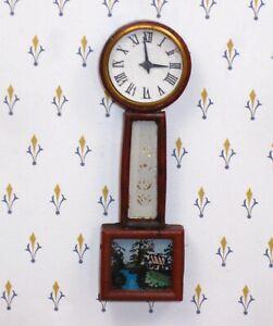 Vintage Banjo Clock with Eglomise Scene (Gorgeous)  Artisan Dollhouse Miniature