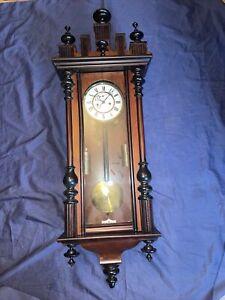 Miniatur Wiener Regulator Gründerzeit Nussbaum Wanduhr Antik Pendeluhr Uhr