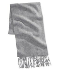 Club Room Mens Scarf Light Gray One Size Cashmere Solid Fringe Trim $120 #124