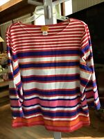 Ruby Rd Woman Top Size 2X Multicolor Stripe 3/4 Sleeve