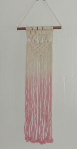 Pink Bohemian Macrame Hand Knotted Fringe Textile Wall Hanging Wall Decor New