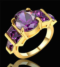 Size 7 Purple Amethyst Gems Engagement Ring 18K yellow Gold Filled Wedding Band
