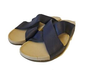 Fitflop Sandals Slides Leather Mens Size 13 Navy Blue Non Slip Beach Summer