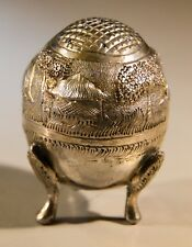 RARE! ANTIQUE ANGLO INDIAN SOLID SILVER PEPPER POT RAISED ELEPHANT DESIGN SHAKER