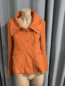 Womens Cue Orange  Wool Blend jacket size 6 Excellent Condition