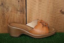 DANSKO Brown Leather Floral Wedge Heel Slide Sandals EUR 38 | US 7.5-8