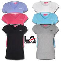 Ladies Top LA Gear T Shirt Womens Short Sleeved V Neck Tee Size 8 10 12 14 16 18
