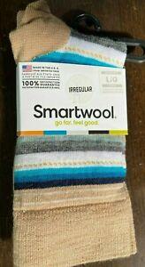 Smartwool Margarita Merino Wool Crew Socks Camel & Blue Gray Stripes Size Large