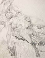 """9"""" x 12"""" drawing print nude male cowboy in tree gay interest"""