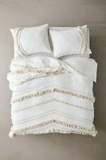 3 Pieces Set Cotton Fringes Tassels Duvet Cover Boho Bedding 100% Cotton