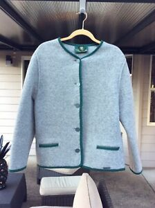 Women's Vintage Boiled Wool Giesswein Austrian Sweater Jacket Sz 14 US
