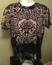 Affliction  Fedor VS Barnett Trilogy Men's Print T-Shirt. MMA Size: Large Skulls