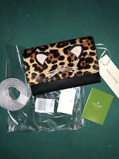 NWT KATE SPADE RUN WILD LEOPARD CHEETAH CAT LEATHER CROSSBODY BAG PURSE WALLET