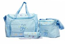 4 Piece Set Baby Diaper Nappy Bag for Baby Mummy Shoulder Handbag Blue #3